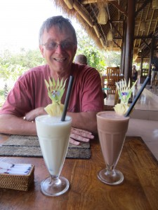 John is crazy happy about all the smoothies from fresh tropical fruit.